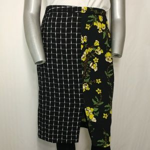 Who What Wear Dual Print Floral Straight Skirt 16